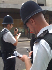 Two bobbies in London, summer 2009