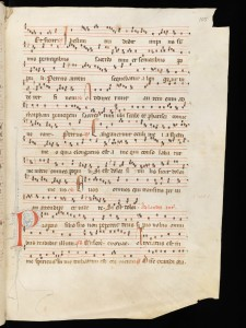 Fribourg, Couvent des Cordeliers, M2, f99r, the responsory Caligaverunt - manuscript used for the Psallentes Tenebrae production - image via http://www.e-codices.unifr.ch