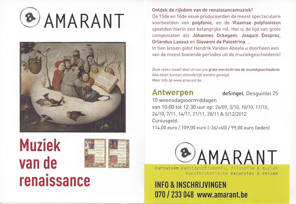 Amarant Renaissance Hendrik Vanden Abeele Psallentes