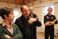Adriaan, Guido, Philippe, Patrick. Philippe discussing vowels. Machaut workshop Psallentes & Hendrik Vanden Abeele