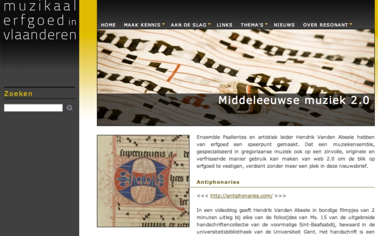 over Psallentes op Nieuwsbrief Resonant - Hendrik Vanden Abeele & de Antiphonary Walkthrough