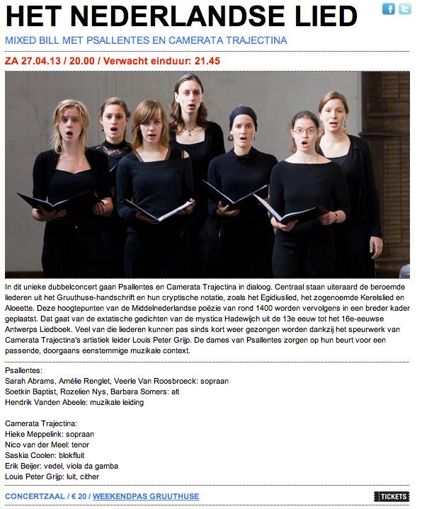 Psallentes Concertgebouw Hendrik Vanden Abeele Gruuthuse-handschrift