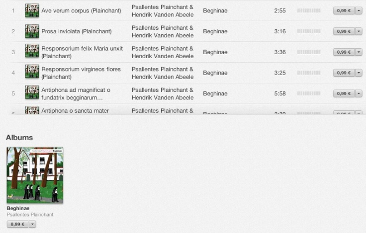 Beghinae op iTunes, Psallentes dir. Hendrik Vanden Abeele