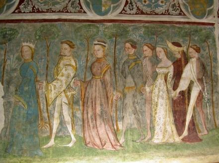 Dancing at Schloss Runkelstein, Tirol, 14th century. Picture via www.runkelstein.info