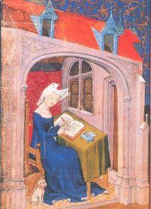 Deze Christine de Pisan, hier thuis aan het werk, was een bekend schrijfster van ondermeer ballades. Het manuscript waar deze afbeelding in voorkomt dateert uit 1407. Je zou denken dat ze linkshandig is, maar wat ze in haar linker hand houdt is waarschijnlijk een krasser (de Middeleeuwse versie van gom of Tipp-ex), terwijl ze wel degelijk met de rechter hand aan het schrijven is. [London, British Library, MS Harley 4431]