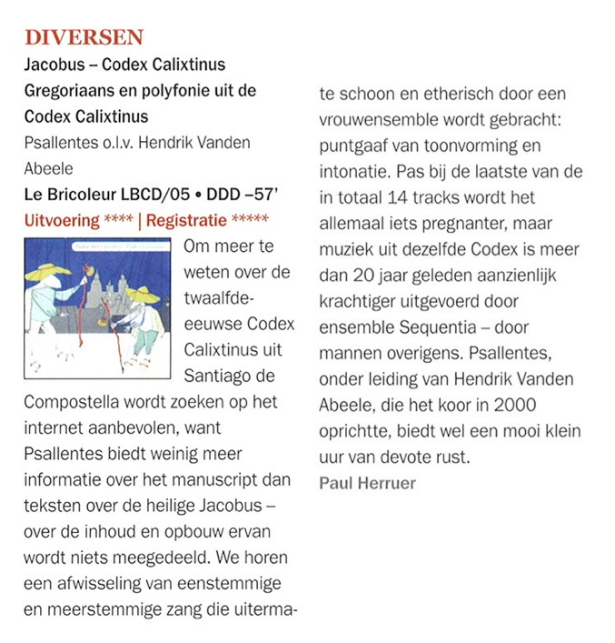 Psallentes Jacobus Codex Calixtinus Hendrik Vanden Abeele