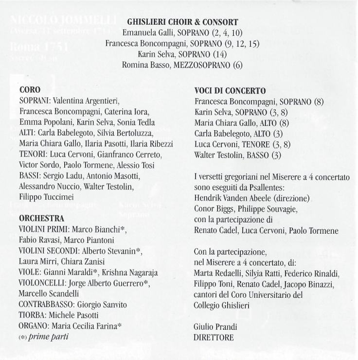 Jomelli Ghislieri Choir & Consort, with Psallentes contribution Hendrik Vanden Abeele