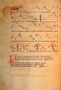 Het is niet verwonderlijk dat in het Llibre Vermell de Montserrat vooral virelais voorkomen: het was eeuwenlang de meest populaire dicht- en muziekvorm, en er kon op gedanst worden. Hier het Stella splendens. [Montserrat, Llibre Vermell, f22v]