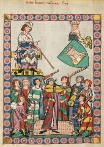 De Minnesanger Meister Heinrich Frauenlob. Afbeelding in de zogenaamde Codex Manesse uit Zürich, 1300-1340. [Heidelberg, Universitätsbibiothek, Cod. Pal. Germ. 848, Große Heidelberger Liederhandschrift, f399]