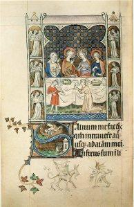 In Middeleeuwse manuscripten zijn veel afbeeldingen van instrumenten te vinden. Hier een miniatuur uit de zogenaamde 'Queen Mary Psalter' (1310-1320). Het gaat om een scène uit het verhaal over de bruiloft van Kanaän. In zes nissen rondom het tafereel staan engelen te musiceren. [London, British Library, BL Royal MsBVII, f131v]