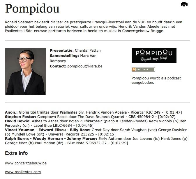 Pompidou Psallentes Hendrik Vanden Abeele