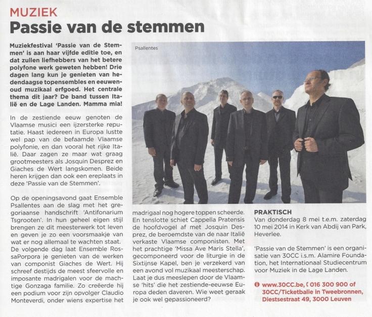 Psallentes op Passie van de Stemmen Leuven 2014 Hendrik Vanden Abeele