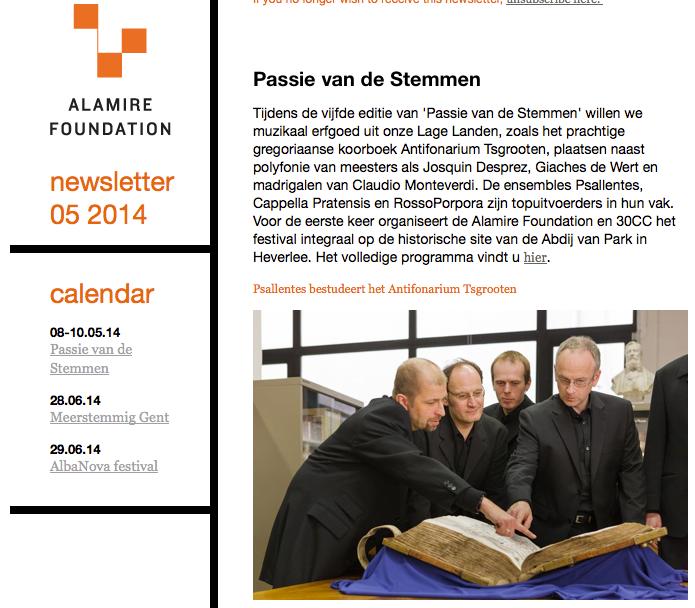 Newsletter Alamire Foundation Psallentes Hendrik Vanden Abeele Passie van de Stemmen 2014