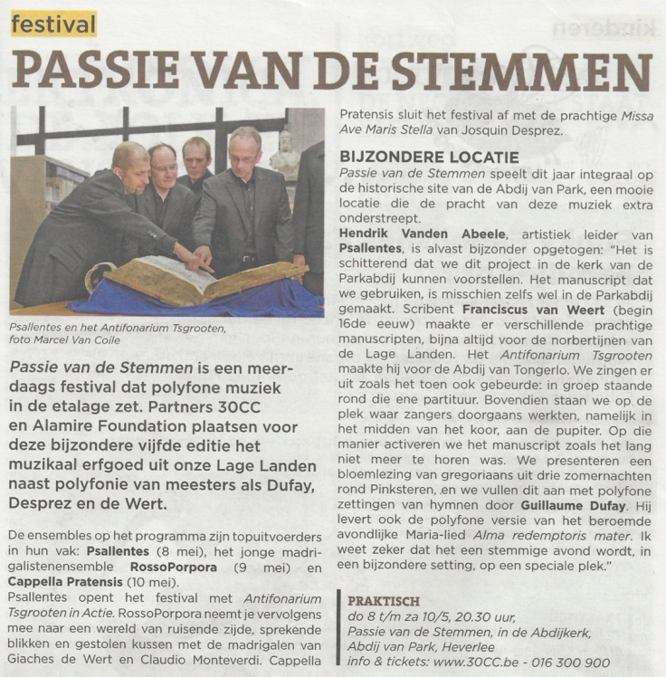 Uit in Leuven Psallentes op Passie van de Stemmen Hendrik Vanden Abeele