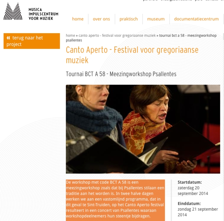 Psallentes Canto Aperto Sint-Truiden 2014