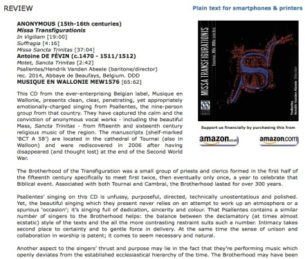Review MusicWeb Psallentes Missa Transfigurationis