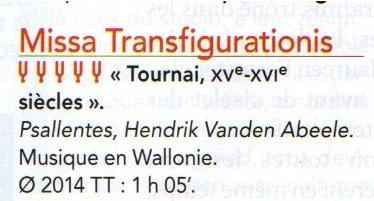 Missa Transifigurationis. Psallentes dir. Hendrik Vanden Abeele
